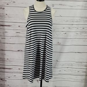 West Loop Black Striped Tank Style Beach Dress